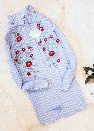Рубашка-платье в полоску с вышивкой missguided