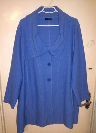 100%шерсть-элегантное манто-кофта-лёгкое пальто,с карманами,бол. разм,и 90%батал