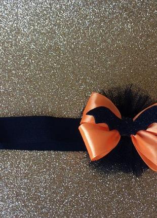 Повязка для девочки на хэллоуин с оранжевым бантиком и летучей мышкой, halloween