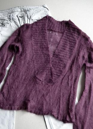 Шерстяной мохеровый свитер джемпер цвета марсала р.s-m 100% шерсть4 фото