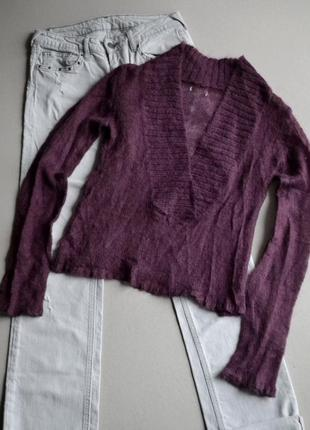 Шерстяной мохеровый свитер джемпер цвета марсала р.s-m 100% шерсть1 фото