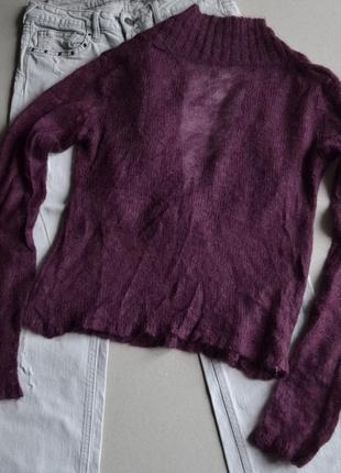Шерстяной мохеровый свитер джемпер цвета марсала р.s-m 100% шерсть2 фото