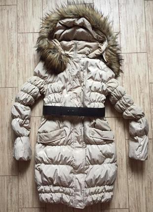 Бежевое пальто ostin + шарф хомут в подарок