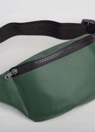 Зеленая бананка сумка на пояс, плече унисекс