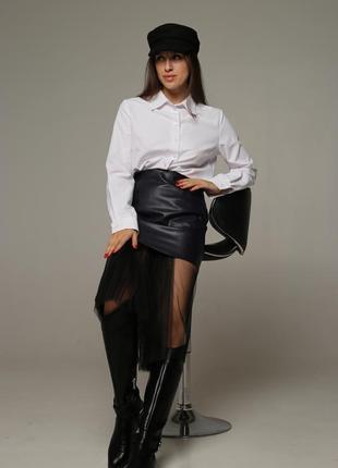 Кожаная юбка со съемным фатином