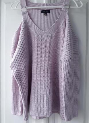 Вязаный розовый свитер кофта открытыми плечами дырками плечах вязка oversize объемный