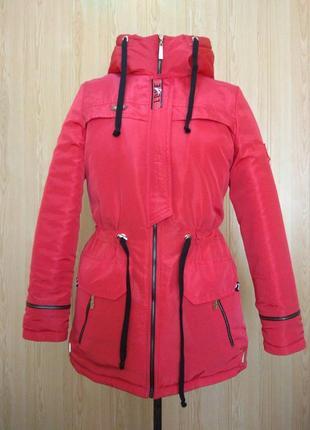Куртка парка зимняя на меху красная 42-50