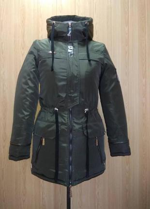 Куртка парка зимняя на  меху зеленая 42-50