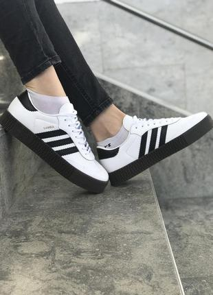 36 37 38 39 40 шикарные женские кроссовки кеды adidas samba black white на платформе