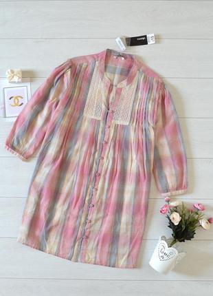 Рубашка в клітинку з кружевом george.