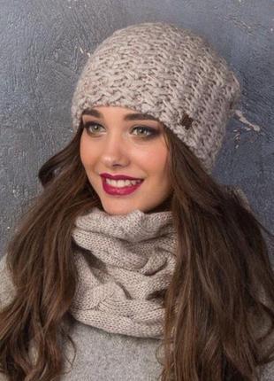 """Набор,теплая вязаная шапка конверт на флисе и шарф """"ворот"""" труба косами,10цветов"""