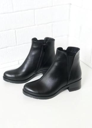 Ботинки, ботильоны из натуральной черной кожи, черные, челси, осень, 36-40!