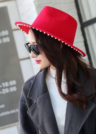 Модная весенне-осенняя шляпа федора с жемчугом 13124