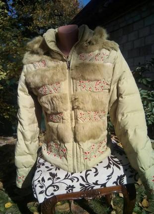 Куртка пуховик lawine оливкового цвета с мехом кролика