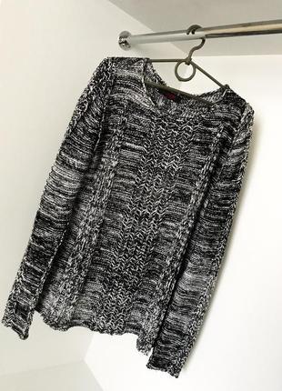 Мужской модный стильный свитер кофта серый с белым вязанный
