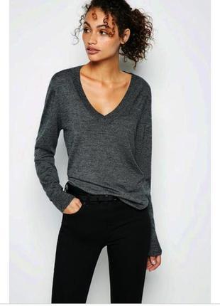 Серый свитер из шерсти мериноса, merino wool