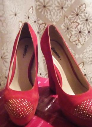 Замшевые туфли на высоком каблуке centro 23,5 см