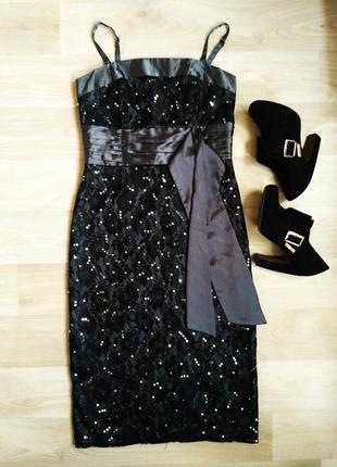 Красивое вечернее гипюровое платье в пайетки от next, 42-44