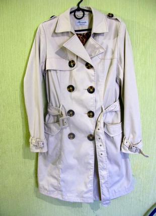 Классический плащ тренч куртка пальто длинный хлопковый приталенный демисезон s-m от c&a