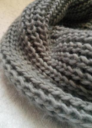 Теплый вязаный базовый шарф хомут снуд