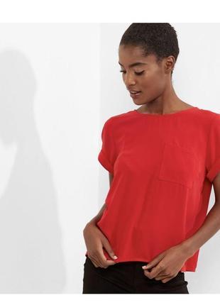 Яркая красная блуза свободная, топ с карманом,