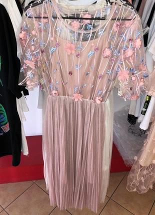 Платье 2 цвета фатин кружево сетка вышивка