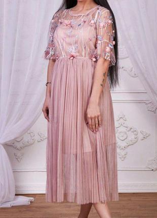 Платье 2 цвета фатин кружево сетка вышивка2 фото