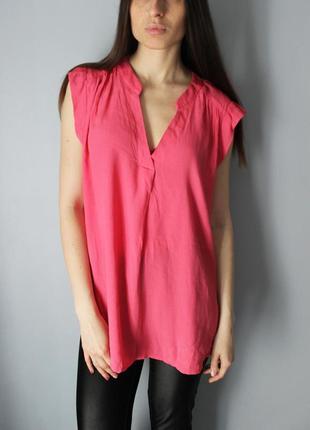 Блуза h&m розовая с красивым вырезом вискоза