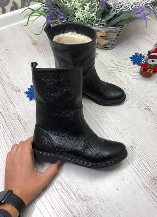 36-41 рр  зимние ботинки, сапоги, ботильоны черные натуральный замш, кожа
