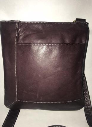 Кожаная сумка- планшет через плечо. стиль кросс боди.