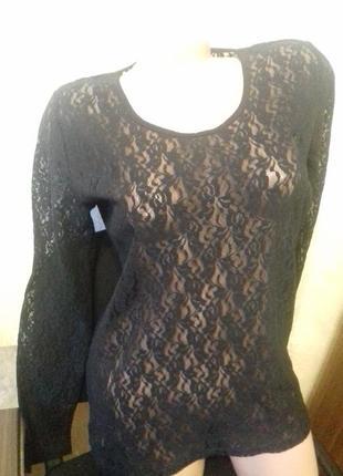 Черная нарядная гипюровая блузка bona parte(дания),р.l, стрейч