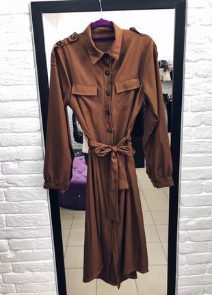Стильное платье рубашка длина миди в наличии италия