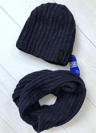 Вязаные,  утеплённые шапки на флисе cо снудом . польша