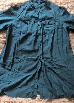 Удлиненная рубашка в полоску marks & spencer размер 20