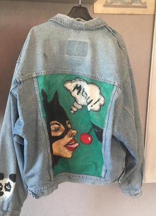 Джинсовка джинсовая куртка оверсайз с рисунком