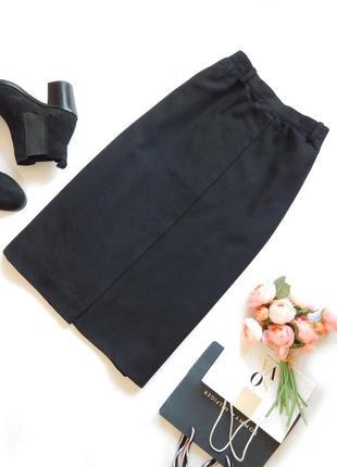 Классическая черная юбка миди на запах 100% шерсть woolmark осень зима