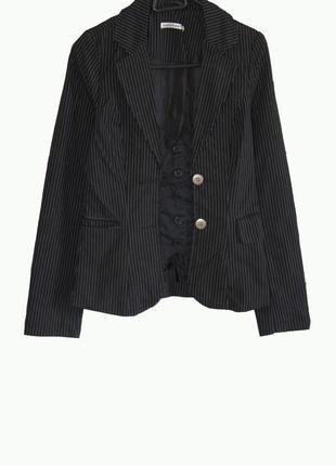Крутой стильный тренч пиджак в мелкую полоску