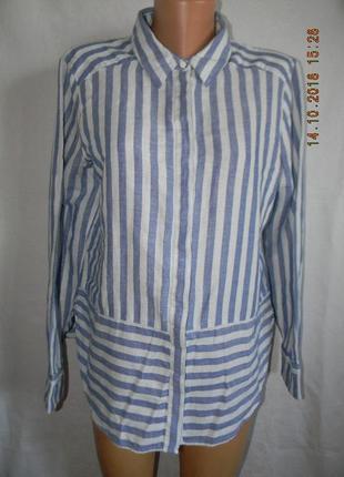 Блуза-рубашка лен в полоску