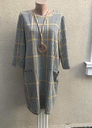 Трикотажное платье,туника в клетку,карманы по боку,большой размер