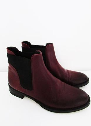 Кожаные бордовые ботинки челси (бесплатная доставка)