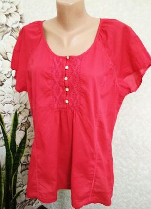 Красная блуза, хлопок, индия/dash/ 1+1= 50% скидки на 3ю вещь.