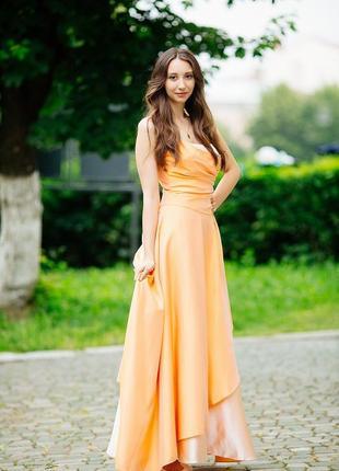 Длиное платье выпускное вечернее, нарядное в пол плаття, сукня атлас пышное а-силует
