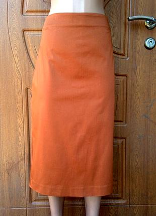 Отличная юбка кирпичного цвета плотная размер l,xl