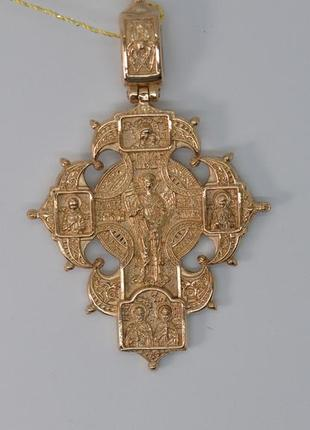 Золотой мужской православный крест распятие и ангел-хранитель, модель - акимовский