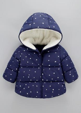 Осенняя теплая курточка для малышки, 90 см синяя в звездочки 1,5-2года