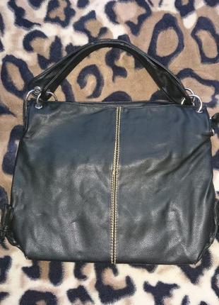 Стильная красивая вместительная черная сумка-баул-торба-мешок