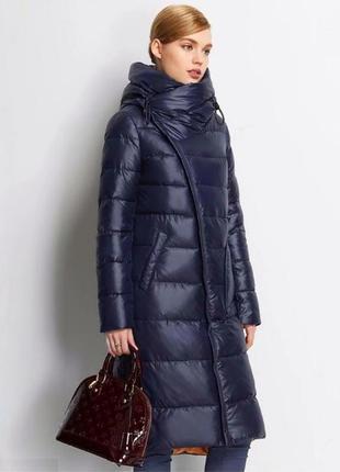 Темно-синий длинный пуховик пальто био-пух одеяло-пуховик люкс качество 2018
