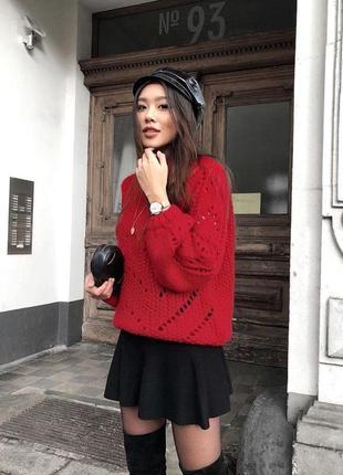 Женский красный свитер h&m вязаный пуловер тёплый джемпер демисезон зима