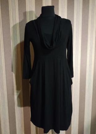 Стильное платье с карманами, насыщенного черного цвета, размер 42-44