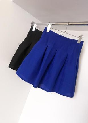 Юбка летняя модная женская свободная синяя электрик высокая посадка завышенная талия